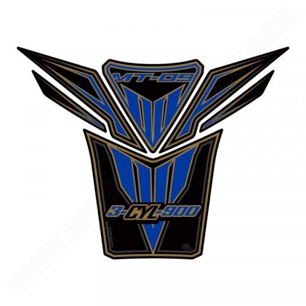 Motografix Yamaha MT-09 Black / Blue 3D Gel Tank Pad Protector TY022KBA