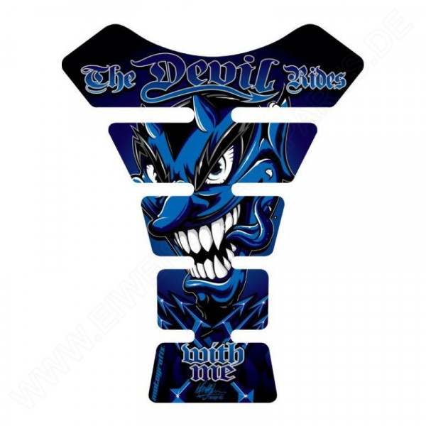 Motografix The Devil Rides With Me Blue 3D Gel Tank Pad Protector ST056B
