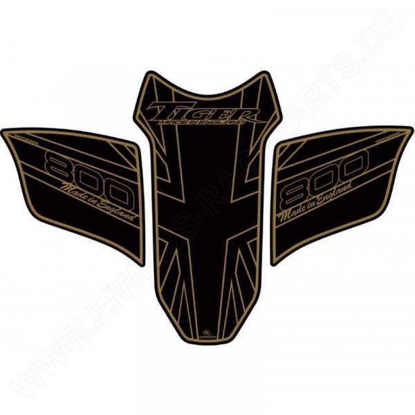 Motografix Triumph Tiger 800 Black Gold 3D Gel Tank Pad Protector TT018AJ
