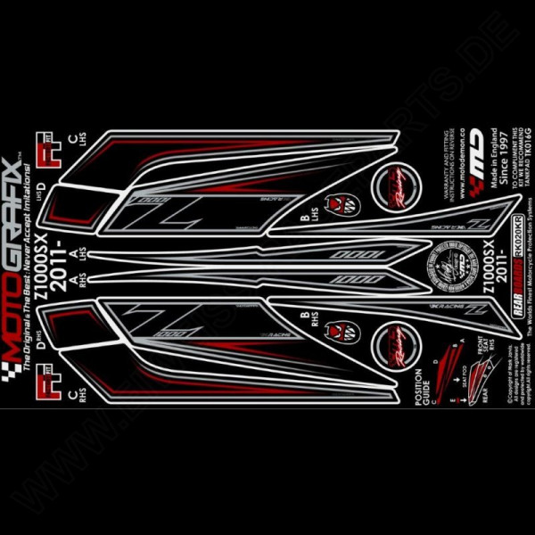 Motografix Stone Chip Protection tail Kawasaki Z 1000 SX 2011-2013 RK020KR