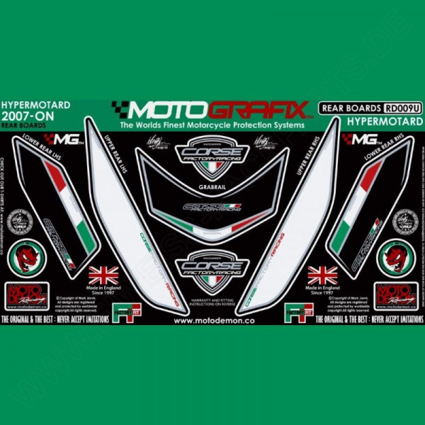 Motografix Stone Chip Protection tail Ducati Hypermotard 1100 2007- RD009U