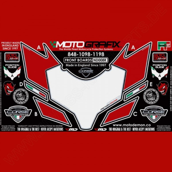 Motografix Stone Chip Protection front Ducati 848 / 1098 / 1198 ND008R
