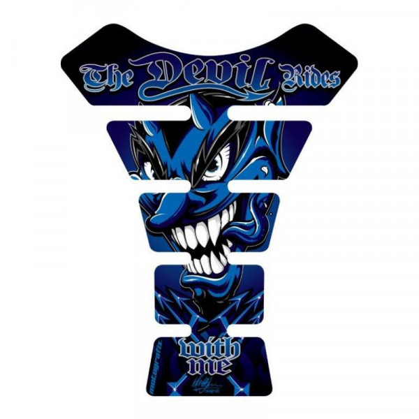 Motografix The Devil Rides With Me Blue 3D Gel Tank Pad Protector ST056B
