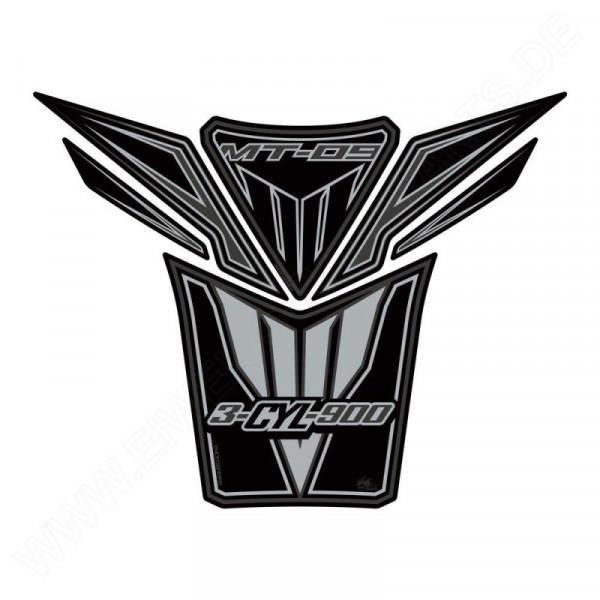 Motografix Yamaha MT-09 Black / Silver 3D Gel Tank Pad Protector TY022KS
